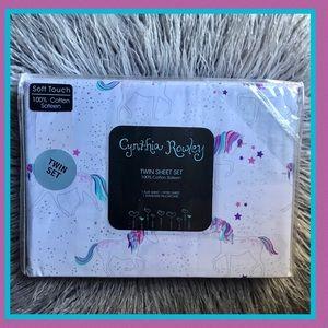 Cynthia Rowley Unicorn & Stars Purple Twin Sheets